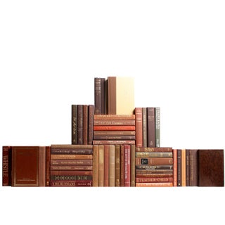 Modern Brown Book Wall - Set of 50