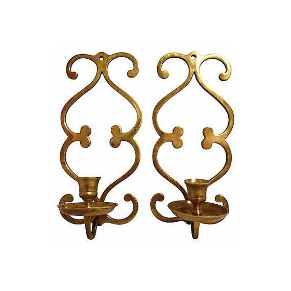 Scroll Wall Sconces Candles : Vintage Brass Scroll Candle Sconces - A Pair Chairish
