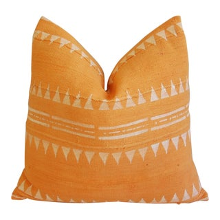 Tangerine & Cream Overdyed Mali Tribal Mud Cloth Pillow