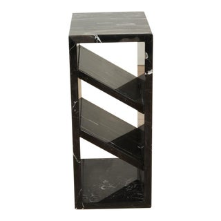 Brick Side Table in Black and Silver Marble by Collection Particulière