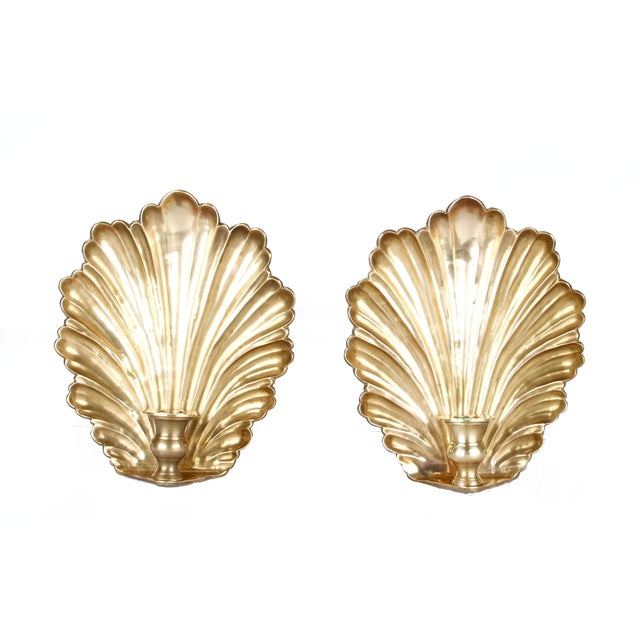 Image of Brass Candle Wall Sconces - Pair