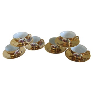 Gold Tea Cups and Saucers - Set of 6