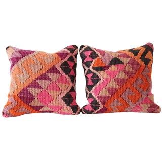 Neon Pink Turkish Kilim Cushions - A Pair