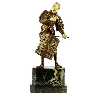 German Bronze Drummer Sculpture