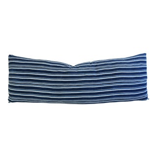 "Jumbo 57"" Long Blue & White Stripe Feather & Down Body Pillow"