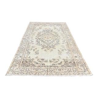Vintage Tribal Oushak Beige Area Carpet - 5′10″ × 9′1″