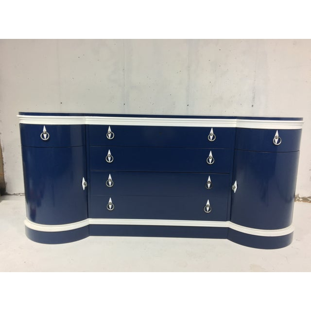 Mid-Century Navy & White Lacquered Credenza - Image 2 of 4