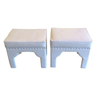 Faux Leather Snake Skin Embossed Stools - A Pair