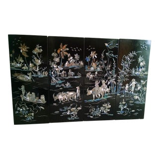 Asian Black Lacquer Inlaid Panels