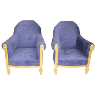 French Art Deco Pair of Armchairs Giltwood by Paul Follot, circa 1920s.