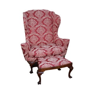 18th Century Style Damask Patterned Armchair & Ottoman