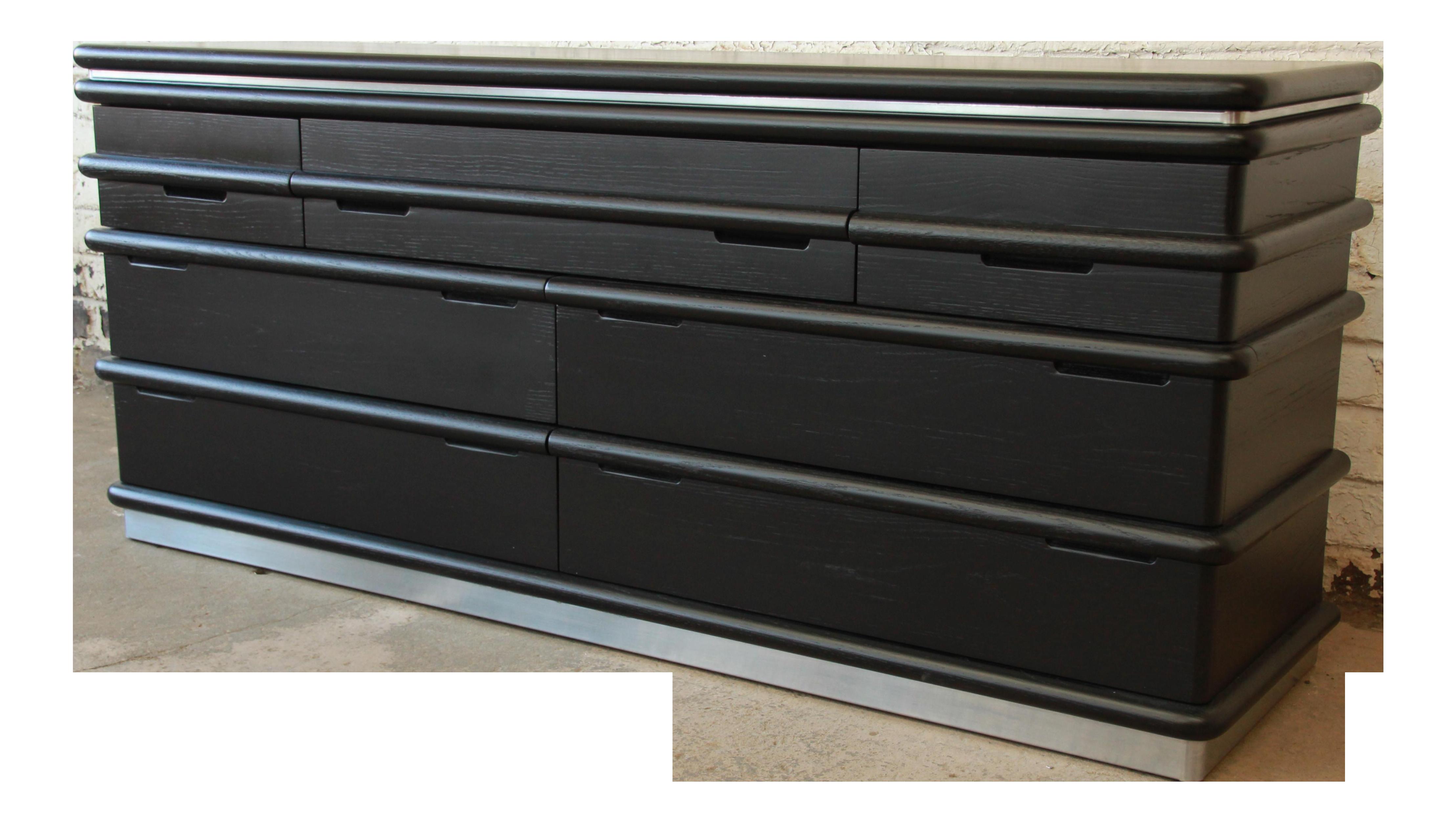 Vintage Jay Spectre For Century Furniture Cerused Oak U0026 Chrome Dresser