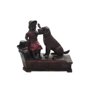 Cast Iron Mechanical Speaking Dog Bank