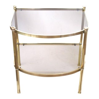 Good Quality Pair of French 1970s Brass and Smoked Glass Bow-Front Side Table