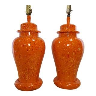 Vintage 1970s Mid-Century Orange Drip Glaze Ginger Jar Lamps - a Pair