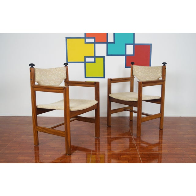 Vintage Walnut Armchairs - A Pair - Image 2 of 8