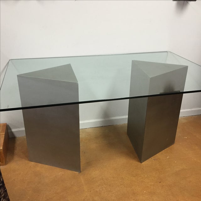 Geometric Silver & Glass Top Modern Dining Table - Image 5 of 8