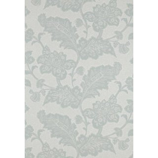 Schumacher Williamsburg Aqua 'Brush Everard Damask' Wallpaper