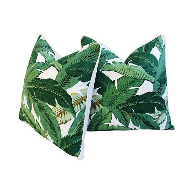 Large Tropical Iconic Banana Leaf Feather/Down Pillows - a Pair - Image 2 of 7