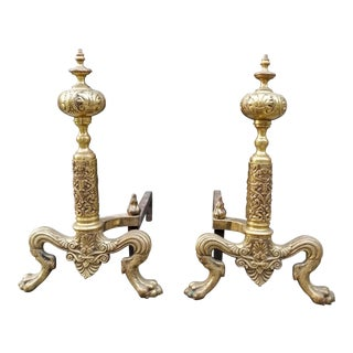 Vintage Georgian Style Solid Brass Lion Feet & Leaf Motif Andirons - A Pair