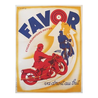 1930s French Vintage Cycling Poster, Favor