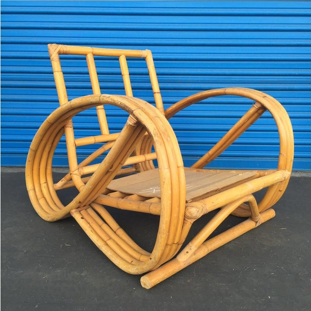 Image of Heywood Wakefield Curved Arm Rattan Lounge Chair