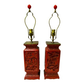Chinese Carved Cinnabar Lamps - A Pair