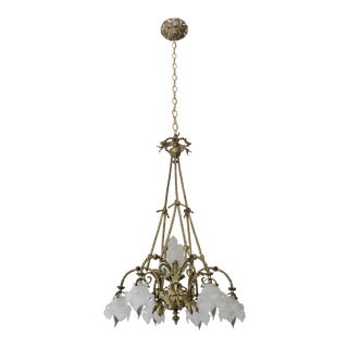 Antique French Bronze Frosted Flower Shade Chandelier