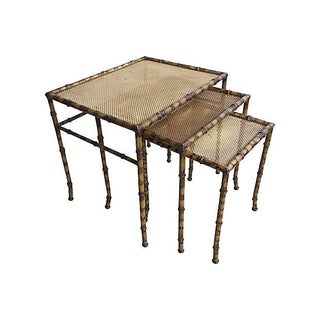 Faux Rattan & Bamboo Metal Nesting Tables - Set of 3
