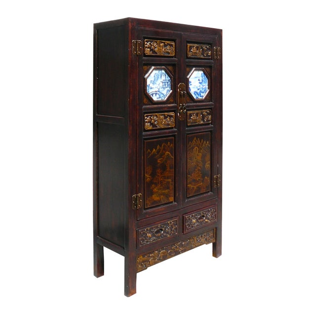 Hand Made Chinese Wood Carved Armoire - Image 2 of 6