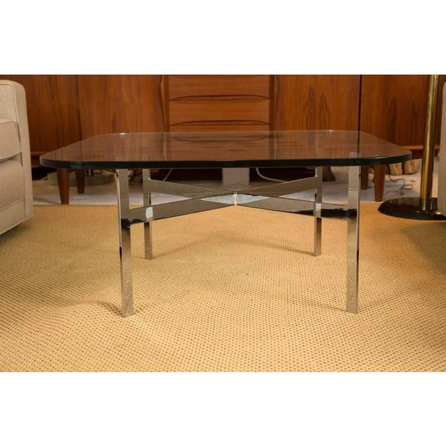 Mid-Century Steel X Base Cocktail Table - Image 3 of 9