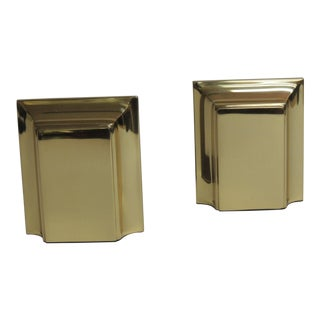 Vintage Polished Brass Bookends - A Pair