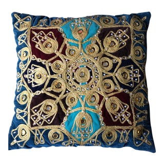 Vintage Gold Embroidered Sun Pillow