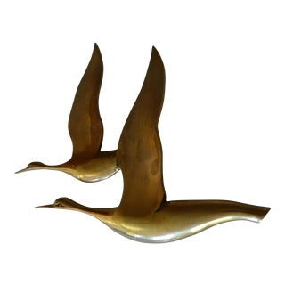 Hand Crafted Brass Geese Hanging Sculpture