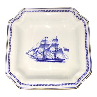 Spode Navy Blue Trade Winds Ship Trinket Dish