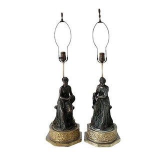 Spelter Lamps - A Pair