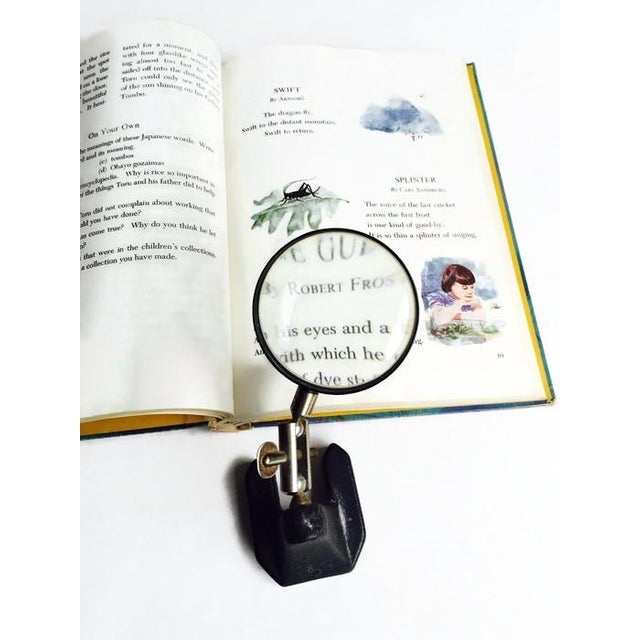 Image of Mid-Century Cast Iron Magnifying Glass Self Stand