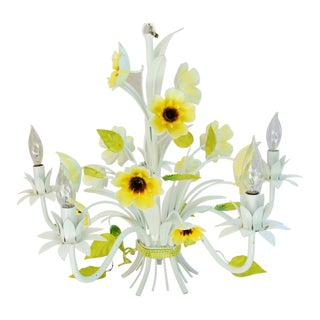 Vintage Italian Five-Arm/Light Daisy Flower Tole Chandelier