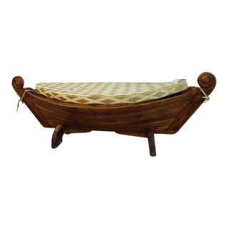 Teak Boat Bench With Green Cushion Hidden Storage