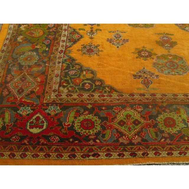 Antique Persian Orange/Green Oushak Style Rug - Image 4 of 9