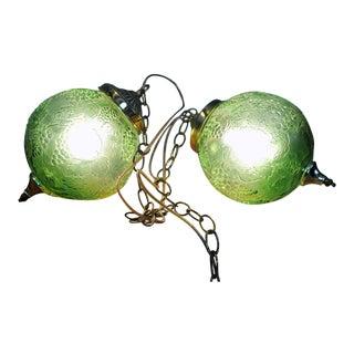 Vintage Green Glass Globe Pendants