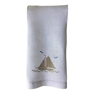 Linen Hand Embroidered Sailboat Guest Towel