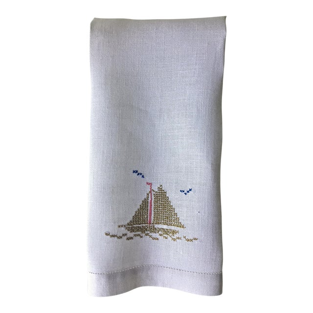Linen Hand Embroidered Sailboat Guest Towel - Image 1 of 4