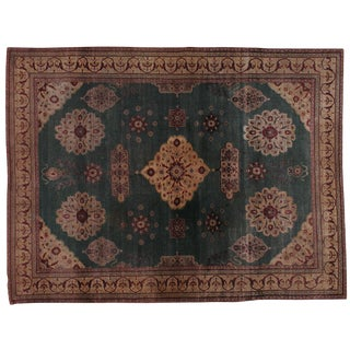 "Antique Indian Agra Rug - 8'10"" X 11'9"""