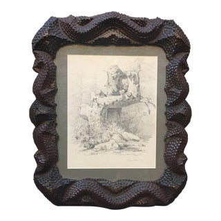 Serpentine Tramp Art Frame With Graphite Drawing