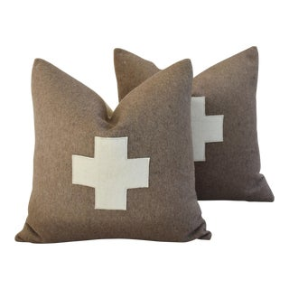 Swiss Wool & Linen Applique Cross Feather/Down Pillows - A Pair