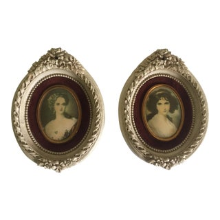 Vintage 18th C Style Miniature Florentine Framed Portrait Prints - A Pair