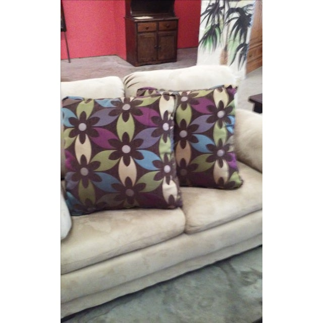 Purple Floral Boho Chic Pillows - Pair - Image 3 of 4