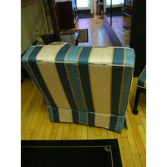 Image of Vintage Moire Satin Armchair and Ottoman