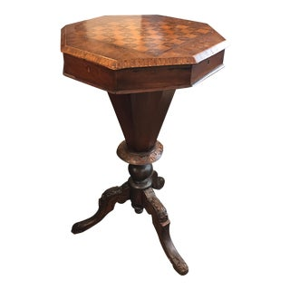 Victorian Table With Inlaid Game Board.